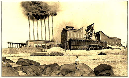 The Neversweat Mine in Butte around 1900.